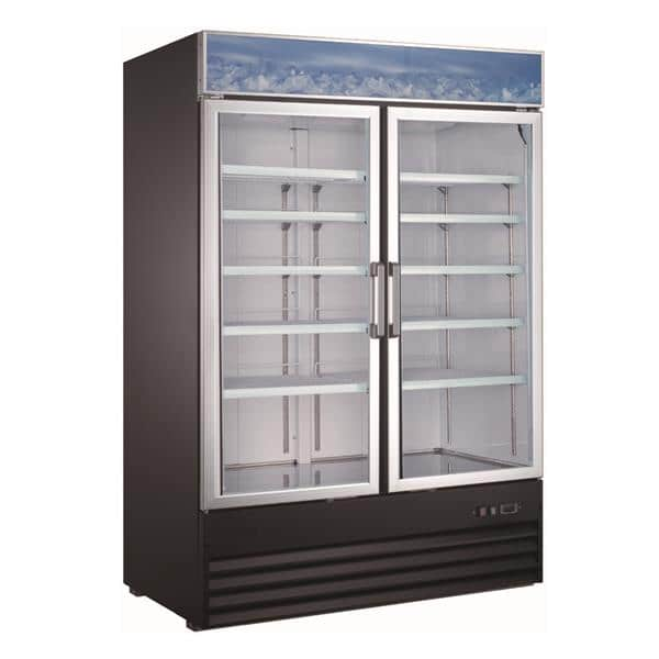 Admiral Craft USRFS-2D/54 53.13'' Black 2 Section Swing Refrigerated Glass Door Merchandiser