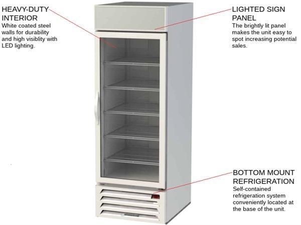 Beverage Air MMF23HC-1-W 27'' 22.5 cu. ft. 1 Section White Glass Door Merchandiser Freezer