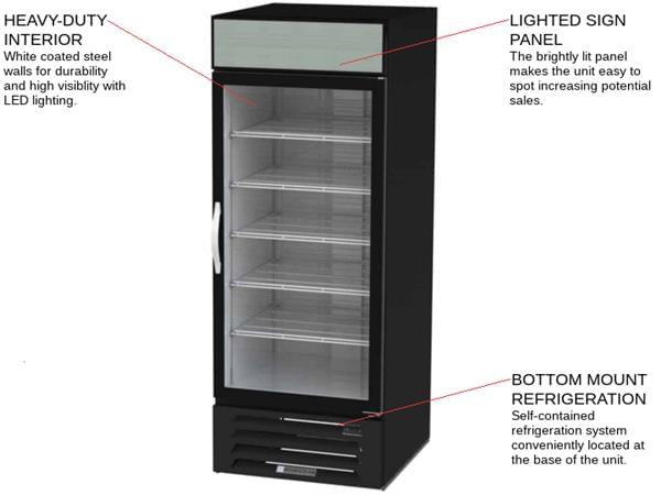 Beverage Air MMF27HC-1-B 30'' 26.57 cu. ft. 1 Section Black Glass Door Merchandiser Freezer