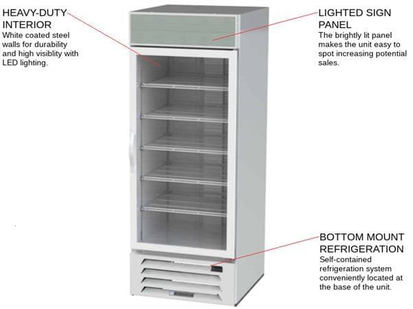 Beverage Air MMF27HC-1-W 30'' 26.57 cu. ft 1 Section White Glass Door Merchandiser Freezer