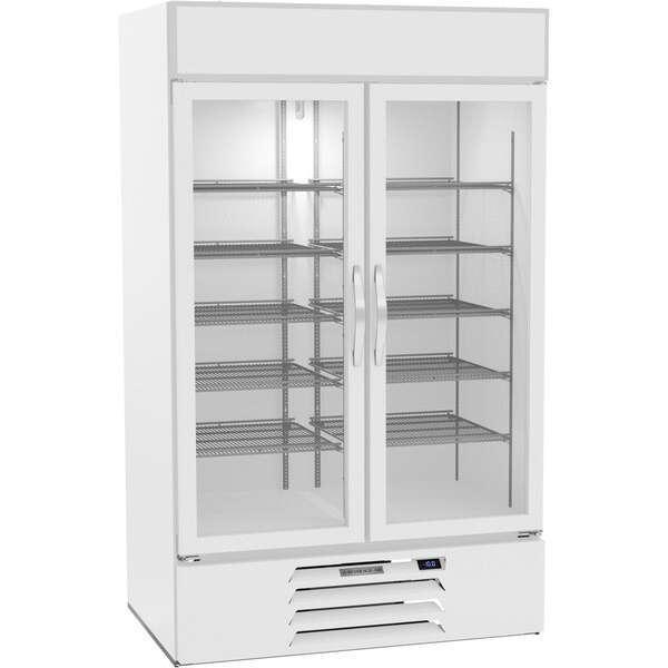 Beverage Air MMF44HC-1-W 47'' 44.0 cu. ft. 2 Section White Glass Door Merchandiser Freezer