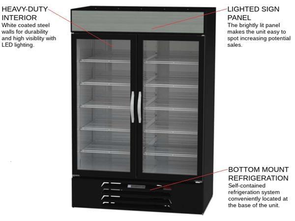 Beverage Air MMF49HC-1-B 52'' 46.2 cu. ft. 2 Section Black Glass Door Merchandiser Freezer