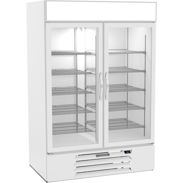 Beverage Air MMF49HC-1-W 52'' 46.2 cu. ft. 2 Section Silver Glass Door Merchandiser Freezer