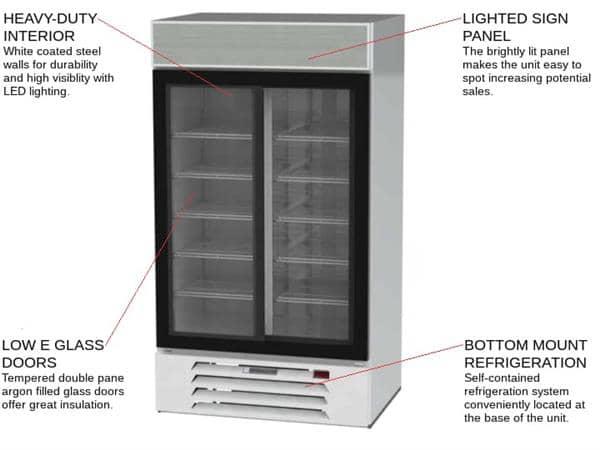 Beverage Air MMR38HC-1-W 43.5'' White 2 Section Sliding Refrigerated Glass Door Merchandiser
