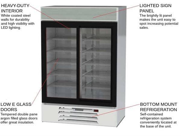 Beverage Air MMR45HC-1-W 52'' White 2 Section Sliding Refrigerated Glass Door Merchandiser