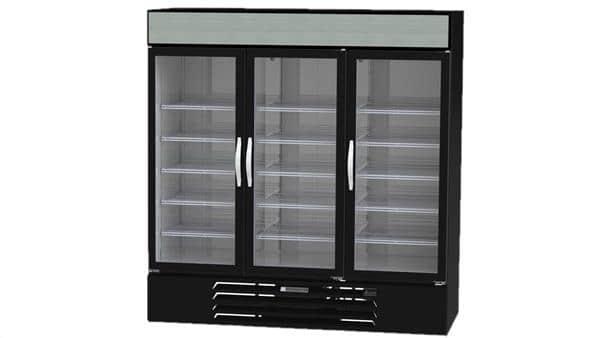 Beverage Air MMR72HC-1-B 75'' Black 3 Section Swing Refrigerated Glass Door Merchandiser