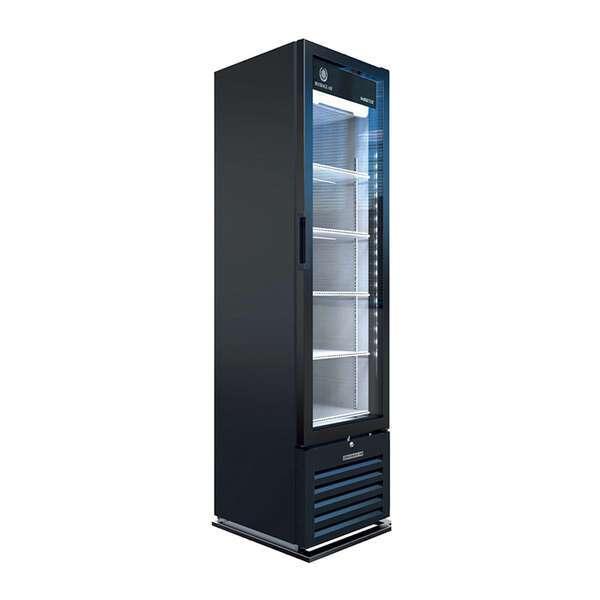 Beverage Air MT08-1H6B 18.88'' Black 1 Section Swing Refrigerated Glass Door Merchandiser
