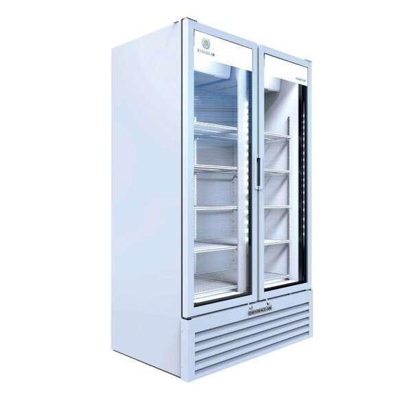 Beverage Air MT34-1W 39.5'' White 2 Section Swing Refrigerated Glass Door Merchandiser