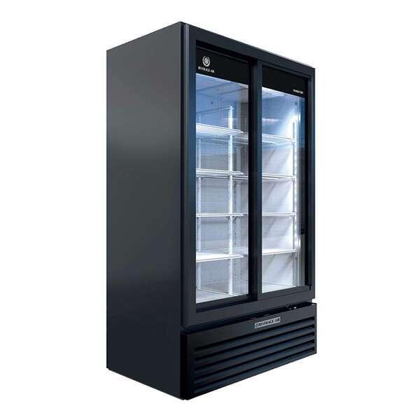 Beverage Air MT49-1-SDB 47.13'' Black 2 Section Sliding Refrigerated Glass Door Merchandiser