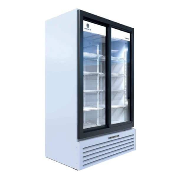 Beverage Air MT49-1-SDW 47.13'' Black 2 Section Sliding Refrigerated Glass Door Merchandiser