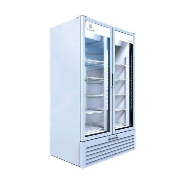 Beverage Air MT49-1W 47.13'' White 2 Section Swing Refrigerated Glass Door Merchandiser