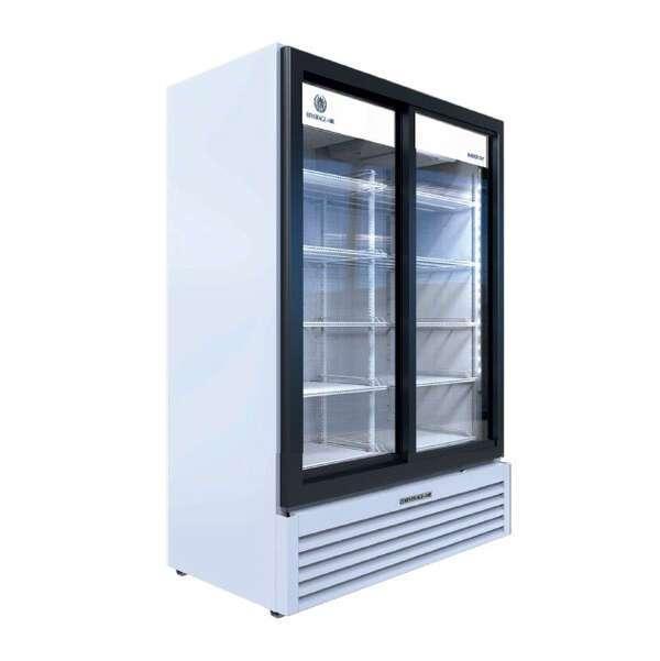Beverage Air MT53-1-SDW 54.25'' White 2 Section Sliding Refrigerated Glass Door Merchandiser