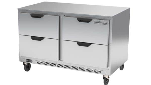 Beverage Air UCFD48AHC-4 48'' 2 Section Undercounter Freezer with Solid 4 Drawers and Front Breathing Compressor
