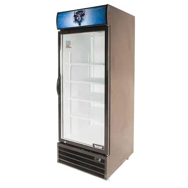 Bison Refrigeration BGM-21 27.6'' Black 1 Section Swing Refrigerated Glass Door Merchandiser
