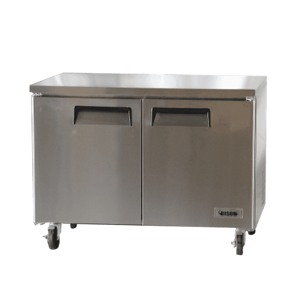 Bison Refrigeration BUF-48 48.13'' 2 Section Undercounter Freezer with 2 Left/Right Hinged Solid Doors and Side / Rear Breathing Compressor
