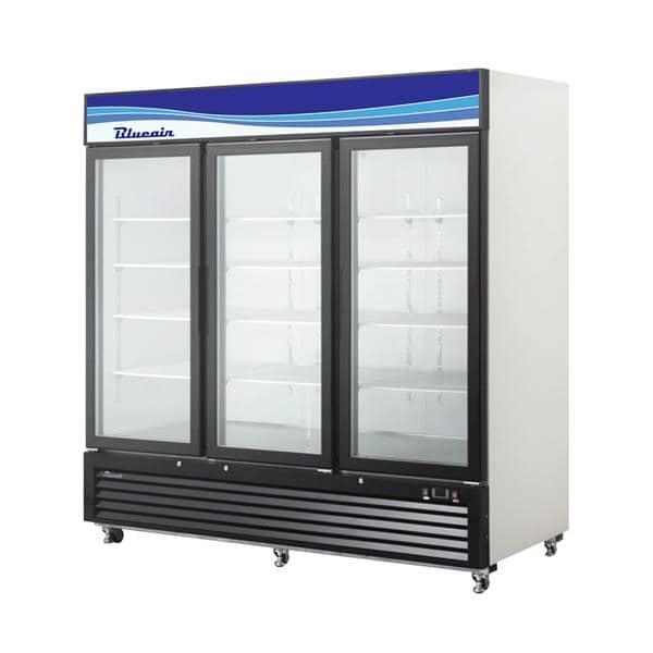 Blue Air BKGM72-HC 82'' Black 3 Section Sliding Refrigerated Glass Door Merchandiser