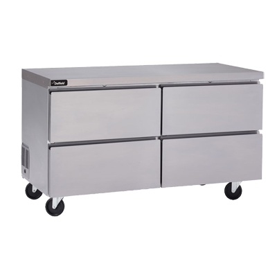 Delfield GUR48P-D 48'' 2 Section Undercounter Refrigerator with 4 Drawers and Side / Rear Breathing Compressor