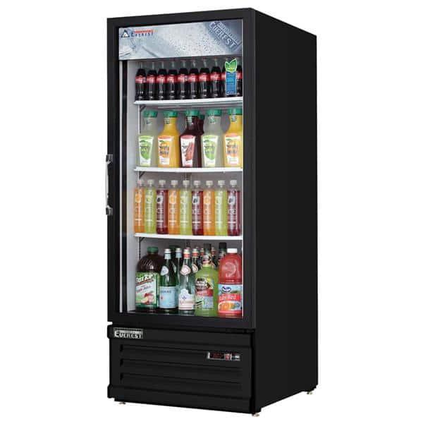 Everest Refrigeration Refrigeration EMGR10B 24'' Black 1 Section Swing Refrigerated Glass Door Merchandiser
