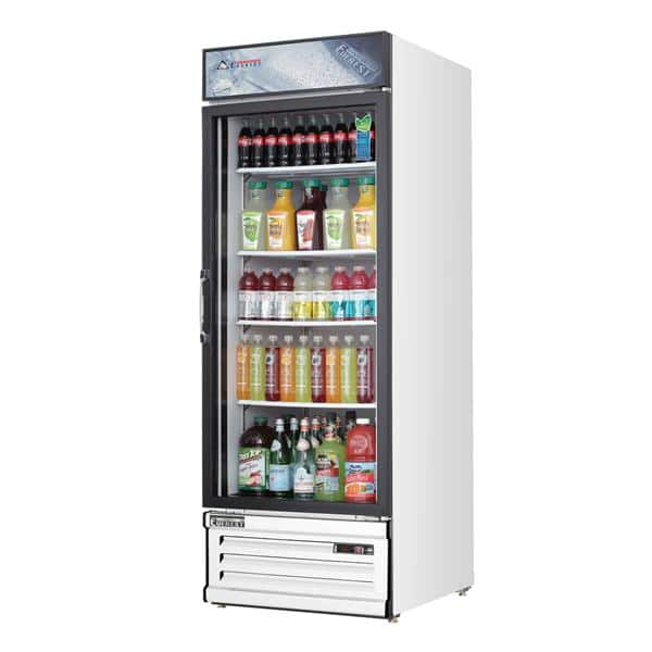 Everest Refrigeration Refrigeration EMGR24 28.38'' White 1 Section Swing Refrigerated Glass Door Merchandiser