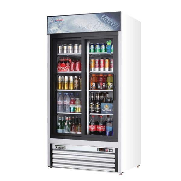 Everest Refrigeration Refrigeration EMGR33 39.38'' White 2 Section Sliding Refrigerated Glass Door Merchandiser