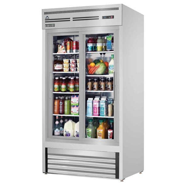 Everest Refrigeration Refrigeration EMGR33-SS 39.38'' White 2 Section Sliding Refrigerated Glass Door Merchandiser