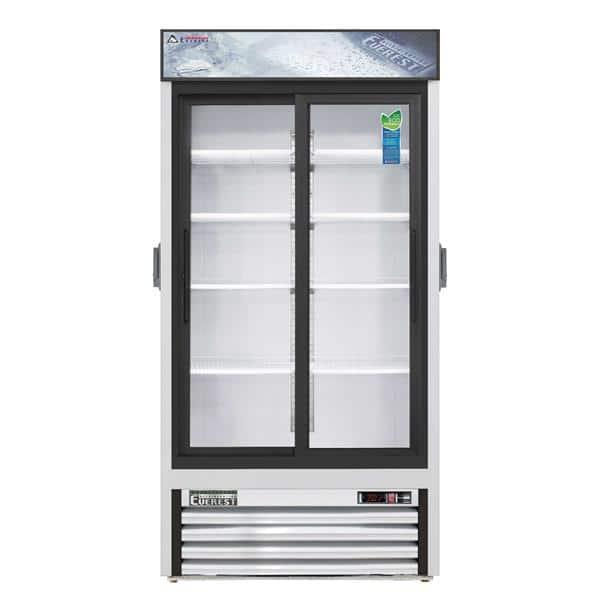 Everest Refrigeration Refrigeration EMGR33C 39.38'' White 2 Section Sliding Refrigerated Glass Door Merchandiser