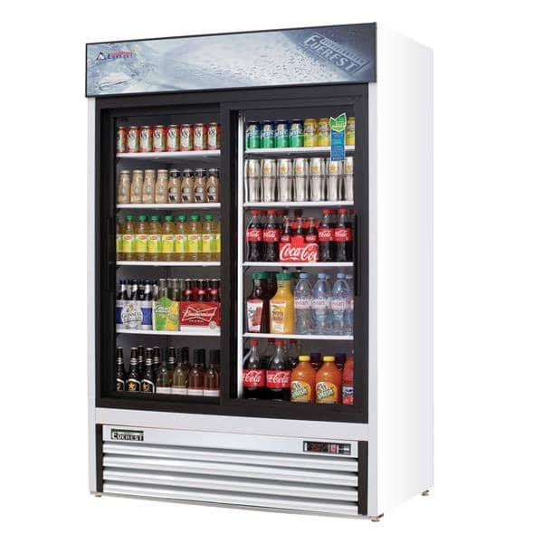 Everest Refrigeration Refrigeration EMGR48 53.13'' White 2 Section Sliding Refrigerated Glass Door Merchandiser
