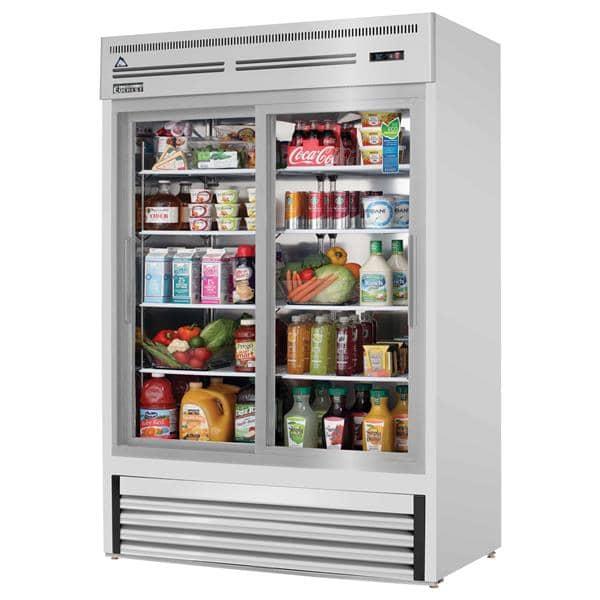 Everest Refrigeration Refrigeration EMGR48-SS 53.13'' Silver 2 Section Sliding Refrigerated Glass Door Merchandiser
