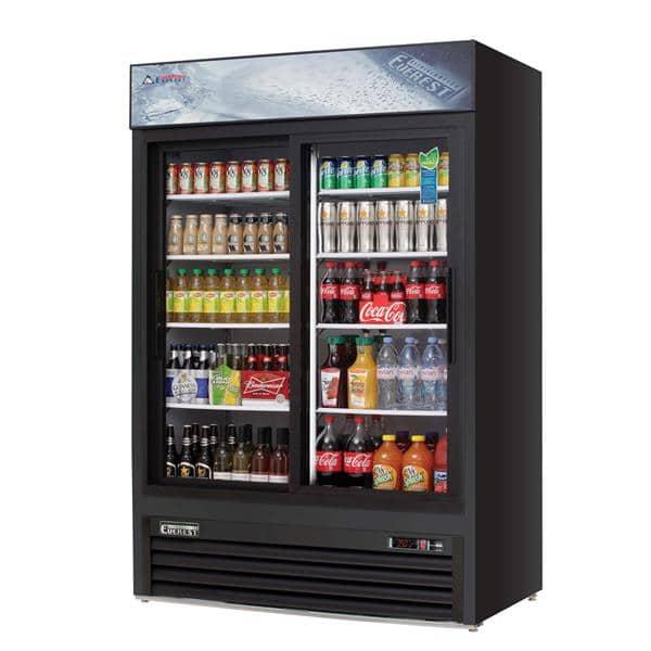 Everest Refrigeration Refrigeration EMGR48B 53.13'' Black 2 Section Sliding Refrigerated Glass Door Merchandiser