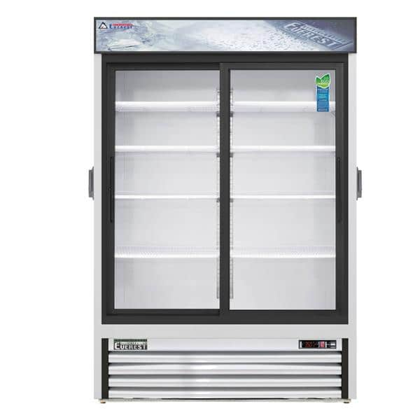 Everest Refrigeration Refrigeration EMGR48C 53.13'' White 2 Section Sliding Refrigerated Glass Door Merchandiser