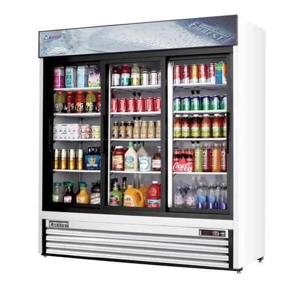 Everest Refrigeration Refrigeration EMGR69 72.88'' White 3 Section Sliding Refrigerated Glass Door Merchandiser