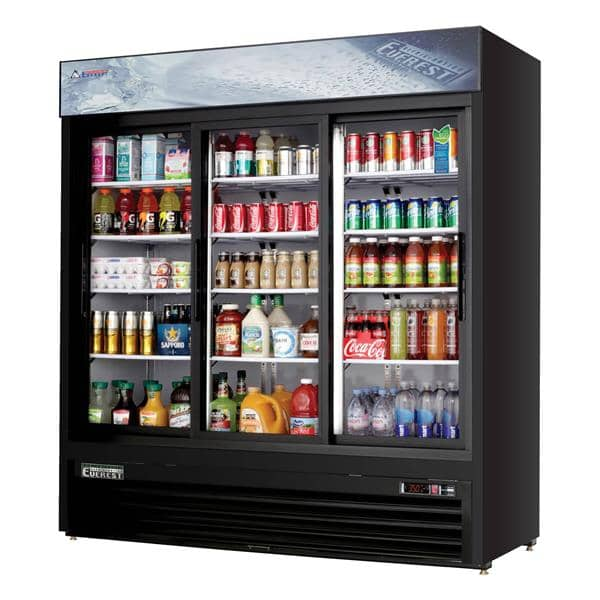 Everest Refrigeration Refrigeration EMGR69B 72.88'' Black 3 Section Sliding Refrigerated Glass Door Merchandiser