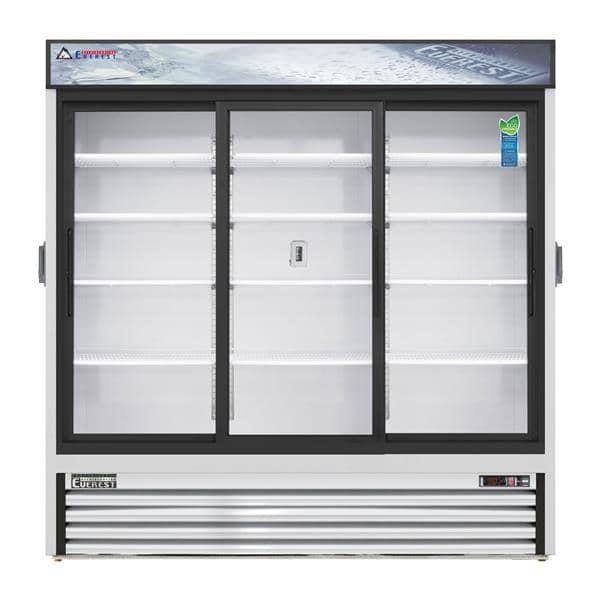 Everest Refrigeration Refrigeration EMGR69C 72.88'' White 3 Section Sliding Refrigerated Glass Door Merchandiser