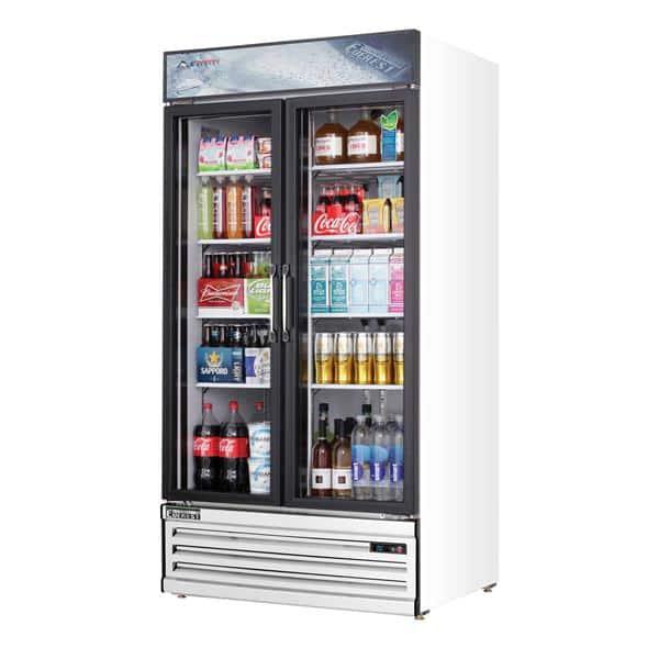 Everest Refrigeration Refrigeration EMSGR33 39.38'' White 2 Section Swing Refrigerated Glass Door Merchandiser