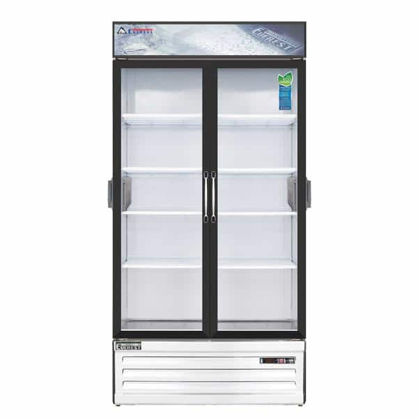Everest Refrigeration Refrigeration EMSGR33C 39.38'' White 2 Section Swing Refrigerated Glass Door Merchandiser