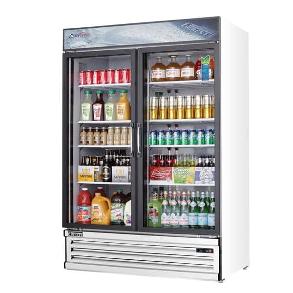Everest Refrigeration Refrigeration EMSGR48 53.13'' White 2 Section Swing Refrigerated Glass Door Merchandiser