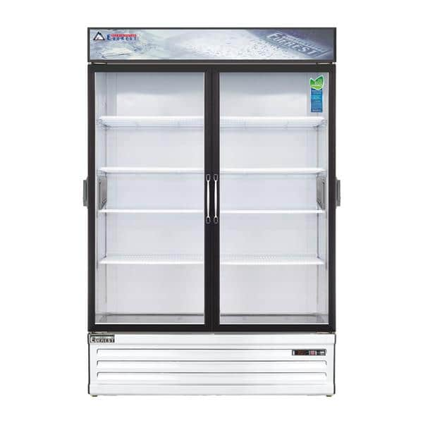Everest Refrigeration Refrigeration EMSGR48C 53.13'' White 2 Section Swing Refrigerated Glass Door Merchandiser