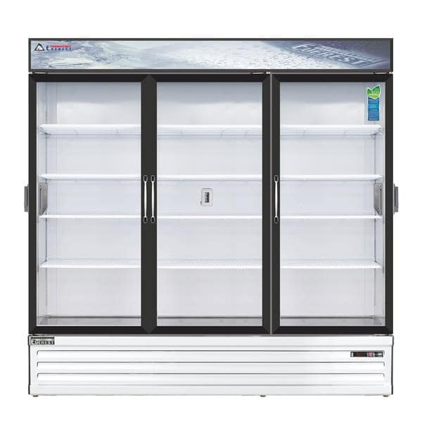 Everest Refrigeration Refrigeration EMSGR69C 72.88'' White 3 Section Swing Refrigerated Glass Door Merchandiser