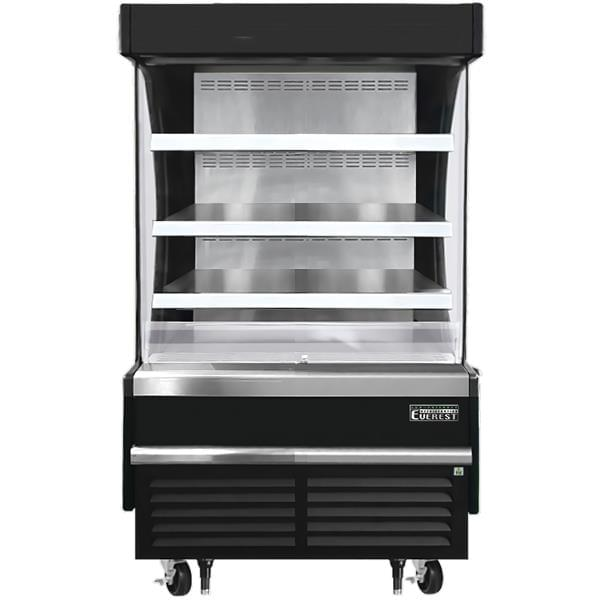 Everest Refrigeration Refrigeration EOMV-36-B-28-S 37.25'' Black Vertical Air Curtain Open Display Merchandiser with 3 Shelves
