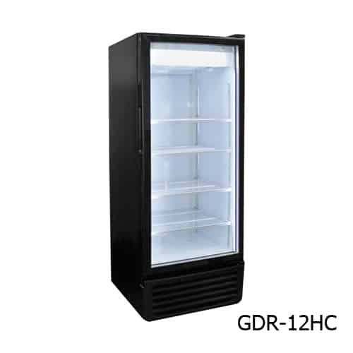 Excellence GDR-12HC 25'' Black 1 Section Swing Refrigerated Glass Door Merchandiser
