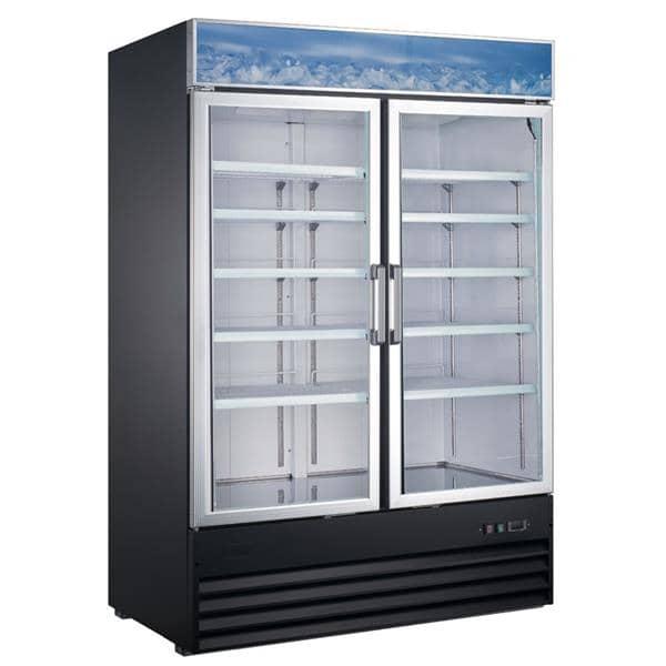 Falcon Food Service Equipment AGM-53F 53.13'' 42.5 cu. ft. 2 Section Black Glass Door Merchandiser Freezer