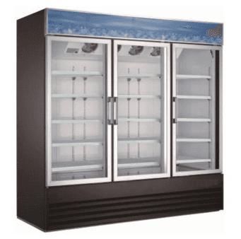 Falcon Food Service Equipment AGM-79F 78.25'' 70.0 cu. ft. 3 Section Black Glass Door Merchandiser Freezer