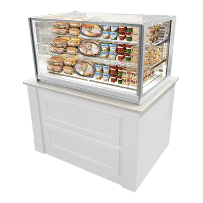 front rear refrigerated display marchia countertop countertops case inch