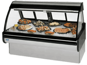 Federal Industries MCG-654-DF Curved Glass Refrigerated Seafood & Fish Maxi Case