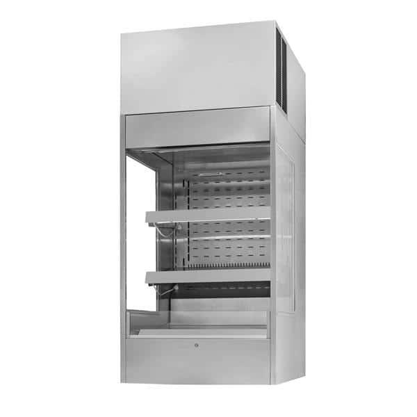 Federal Industries TSSM2454 24.17'' Black Vertical Air Curtain Open Display Merchandiser with 2 Shelves