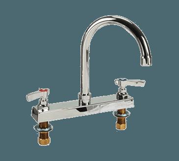 """FMP 107-1131 Commercial-Duty 8"""" Center Gooseneck Faucet 6"""" spout"""
