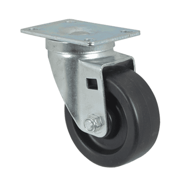 "FMP 120-1013 Medium-Duty 3-1/2"" Plate Caster Black rubber wheel with plastic hub"