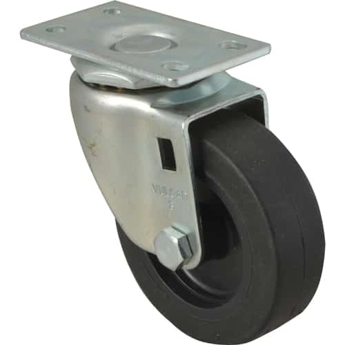 "FMP 120-1019 Standard-Duty 3"" Plate Caster Black polyolefin wheel and hub"