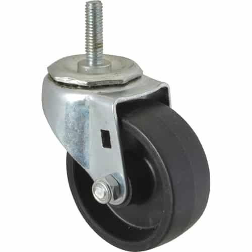 "FMP 120-1030 Standard-Duty 3"" Threaded Stem Caster Black polyolefin wheel and hub"
