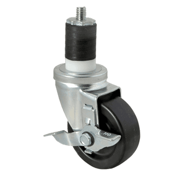 "FMP 120-1034 Medium-Duty 3-1/2"" Stem Caster with Brake Black polyolefin wheel and hub"